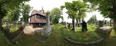 Wooden cemetery church of Blessed Virgin Mary in Broumov.  Click to view this panorama in new fullscreen window