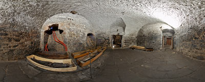 Mummified bodies of 17-18th century inhabitants of Vamberk in the dungeons of the Benedictine abbey in Broumov.  Click to view this panorama in new fullscreen window