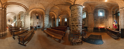 The 12th-century chapel of Saint Basil on the lower level of the Basilica of the Holy Blood in Bruges, Belgium.  Click to view this panorama in new fullscreen window