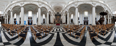 The 17th-century church of St. Walburga, a rare Baroque interior in the Gothic-dominated city of Bruges, Belgium.  Click to view this panorama in new fullscreen window