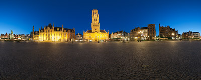 The Markt: the main town square of Bruges, Belgium, with the famous medieval belfry.  Click to view this panorama in new fullscreen window