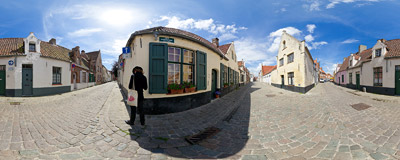On the corner of Rolweg and Korte Ropeerdstraat in Bruges, Belgium.  Click to view this panorama in new fullscreen window