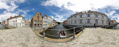 A bridge over one of the canals in Bruges, near the Sint-Anna church.  Click to view this panorama in new fullscreen window