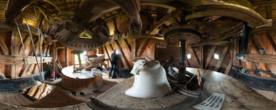 Inside the Sint-Janshuismolen, an 18th-century grain windmill in Bruges, Belgium.  Click to view this panorama in new fullscreen window