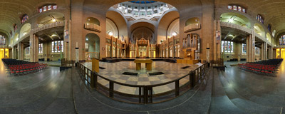 Inside the monumental Art Deco Koekelberg Basilica in Brussels, Belgium.  Click to view this panorama in new fullscreen window
