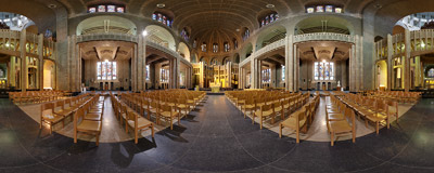 Inside the Koekelberg Basilica in Brussels, Belgium.  Click to view this panorama in new fullscreen window