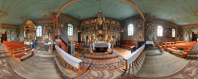 Inside the Greek Orthodox church of Saint Michael the Archangel (1797), now the Roman Catholic church of the Assumption of Virgin Mary in Brunary Wyżne.  Click to view this panorama in new fullscreen window