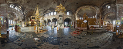 The interior of the Orthodox church of St. Nicholas (1851-1876) inside the Brest Fortress, Belarus.  Click to view this panorama in new fullscreen window