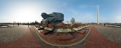 On the parade square of the Brest Fortress, Belarus.  Click to view this panorama in new fullscreen window