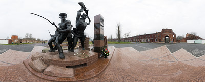 The monument of the defenders of the Brest Fortress, Belarus.  Click to view this panorama in new fullscreen window