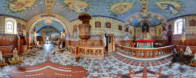 Inside the wooden church of the Holiest Heart of Jesus in Bukowina Tatrzańska, built in 1887-1900.  Click to view this panorama in new fullscreen window