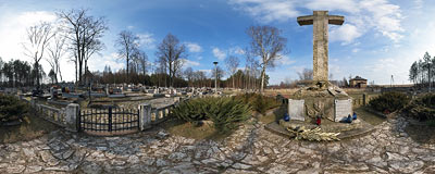 War monument in the cemetery in Bydlin.  Click to view this panorama in new fullscreen window
