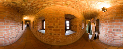 A narrow corridor in the 14th century castle in Bytów.  Click to view this panorama in new fullscreen window