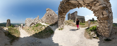 The ruins of the Čachtice Castle in western Slovakia.  Click to view this panorama in new fullscreen window