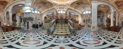Inside the Cathedral of St. Mary and St. Cecilia in Cagliari, the capital of Sardinia, Italy.  Click to view this panorama in new fullscreen window