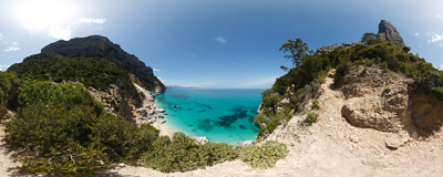 Cala Goloritzé: one of the most beautiful and secluded beaches of Sardinia can be reached only by sea or with a 4-kilometre mountain hike.  Click to view this panorama in new fullscreen window