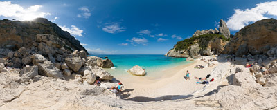 Cala Goloritzé: one of the most beautiful and secluded beaches on the east coast of Sardinia.  Click to view this panorama in new fullscreen window