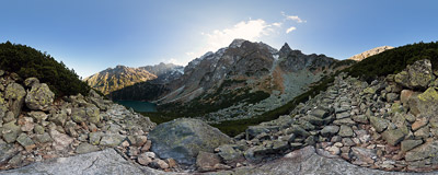"On the ""Ceprostrada"" trail from Morskie Oko to Szpiglasowa Przełęcz, Polish Tatra Mountains.  Click to view this panorama in new fullscreen window"