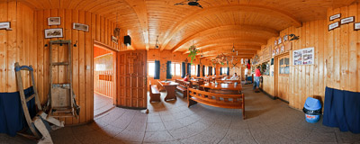 Inside the Chata pod Soliskom mountain hut (1840 m) in Slovak Tatra Mountains.  Click to view this panorama in new fullscreen window
