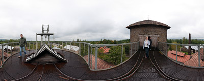 View from the upper level of the blast furnace tower in the old steelworks in Chlewiska.  Click to view this panorama in new fullscreen window