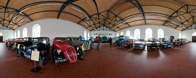 About twenty old cars, most of them constructed or manufactured in Poland, are presented in a small museum in Chlewiska.  Click to view this panorama in new fullscreen window