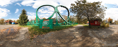The only roller coaster in Poland, opened in 2007 in an amusement park in Chorzów.  Click to view this panorama in new fullscreen window