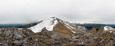 On the summit of Chuda Turnia (1858 m) in the Tatra Mountains.  Click to view this panorama in new fullscreen window