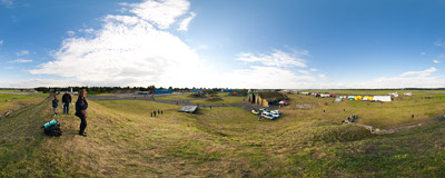 The Hradec Králové airport seen from a grassy top of a hangar after the first day of the Czech International Air Fest 2010.  Click to view this panorama in new fullscreen window
