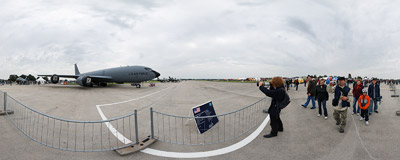 Boeing KC-135R Stratotanker on static display during the Czech International Air Fest 2010 at the Hradec Králové airport.  Click to view this panorama in new fullscreen window