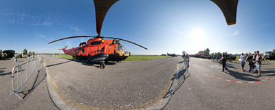 The Sea King helicopter on display during the Czech International Air Fest 2012 in Hradec Králové.  Click to view this panorama in new fullscreen window