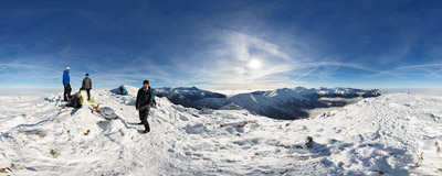 On the summit of Ciemniak (2096 m) in the Tatra Mountains.  Click to view this panorama in new fullscreen window
