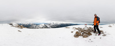 On the summit of Ciemniak (2096 m) in the West Tatra Mountains.  Click to view this panorama in new fullscreen window