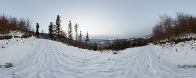 On a trail near Cisowa Grapa in the Beskid Mały mountain range.  Click to view this panorama in new fullscreen window