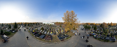 Cmentarz Batowicki, the largest of all the cemeteries in Kraków, on All Saints' Day.  Click to view this panorama in new fullscreen window