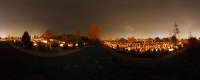 All Hallows' Day on Cmentarz Grębałowski, the largest cemetery in the Nowa Huta district of Kraków.  Click to view this panorama in new fullscreen window