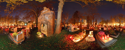 All Hallows' Day on a small cemetery in the Nowa Huta district of Kraków.  Click to view this panorama in new fullscreen window
