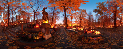 Podgórze Cemetery in Kraków on the eve of the All Saints' Day.  Click to view this panorama in new fullscreen window