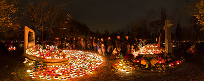 All Saints' Day at the Walk of Honour part of the Rakowice Cemetery in Kraków.  Click to view this panorama in new fullscreen window