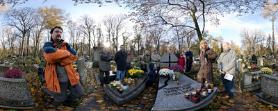 The grave of my father and my grandparents at the Rakowice Cemetery in Kraków.  Click to view this panorama in new fullscreen window