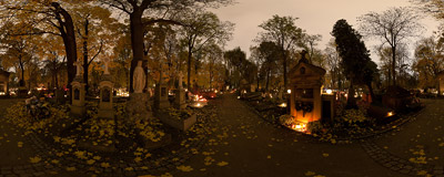Rakowice Cemetery in Kraków on the Halloween evening.  Click to view this panorama in new fullscreen window