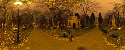 Kraków - Rakowice Cemetery.  Click to view this panorama in new fullscreen window