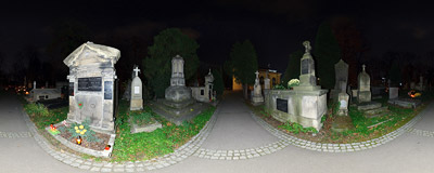 Kraków - Rakowice Cemetery on the Halloween evening.  Click to view this panorama in new fullscreen window