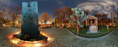 Rakowice Cemetery in Kraków on the Halloween evening - the monument to victims of Nazi concentration camps.  Click to view this panorama in new fullscreen window