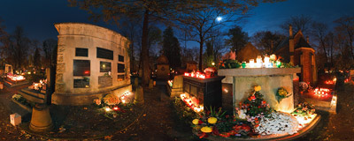 All Saints' night at the Rakowice Cemetery in Kraków.  Click to view this panorama in new fullscreen window