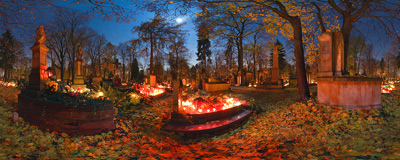 All Saints' night in an old part of Rakowice Cemetery in Kraków.  Click to view this panorama in new fullscreen window