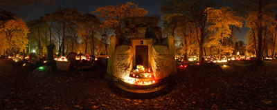 The tomb of Anna and Erazm Jerzmanowski at the Rakowice Cemetery in Kraków.  Click to view this panorama in new fullscreen window