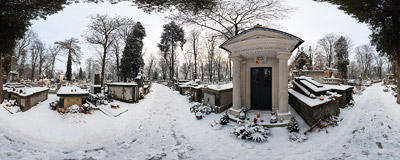 The winter afternoon at the Rakowice Cemetery in Kraków.  Click to view this panorama in new fullscreen window