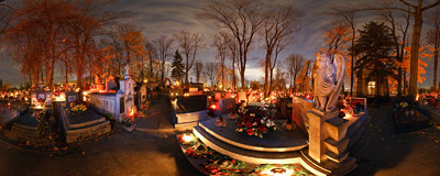 Salwator cemetery in Kraków on the eve of All Saints' Day.  Click to view this panorama in new fullscreen window