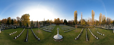All Saints' Day at the Commonwealth section of the Military Cemetery in Kraków.  Click to view this panorama in new fullscreen window