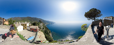 Corniglia is the middle one of five hamlets known as Cinque Terre in Italy.  Click to view this panorama in new fullscreen window